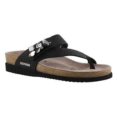 Mephisto Women's HALICE black rio cork footbed thongs