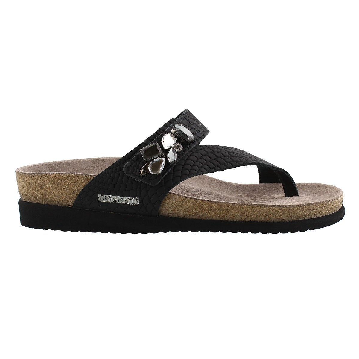 Lds Halice black rio cork footbed thong