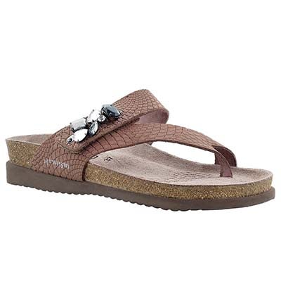 Mephisto Women's HALICE pink rio cork footbed thongs