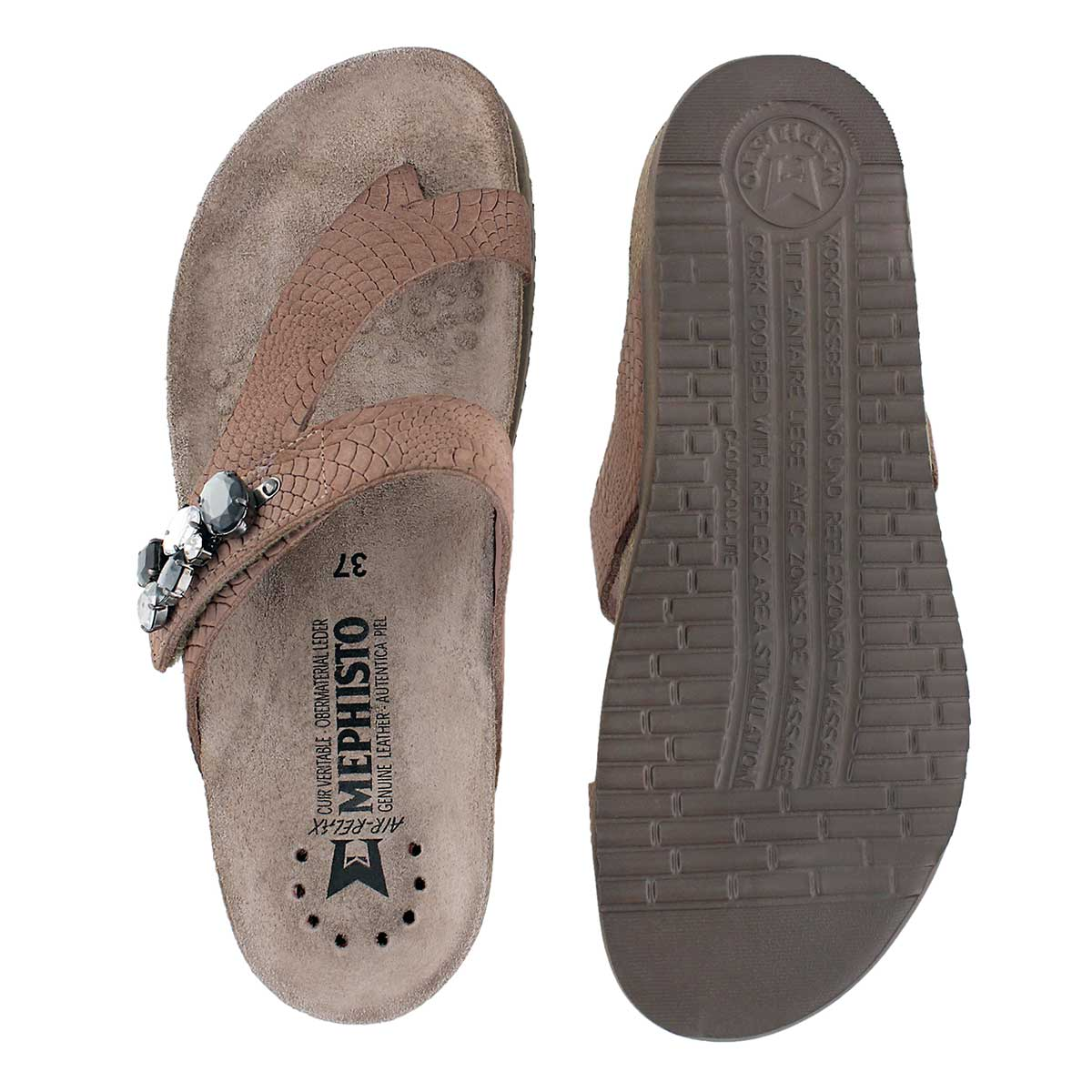 Lds Halice pink rio cork footbed thong