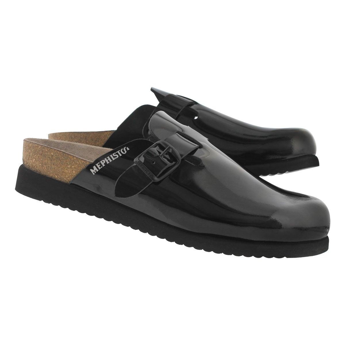 Lds Halina black pat cork footbed clog