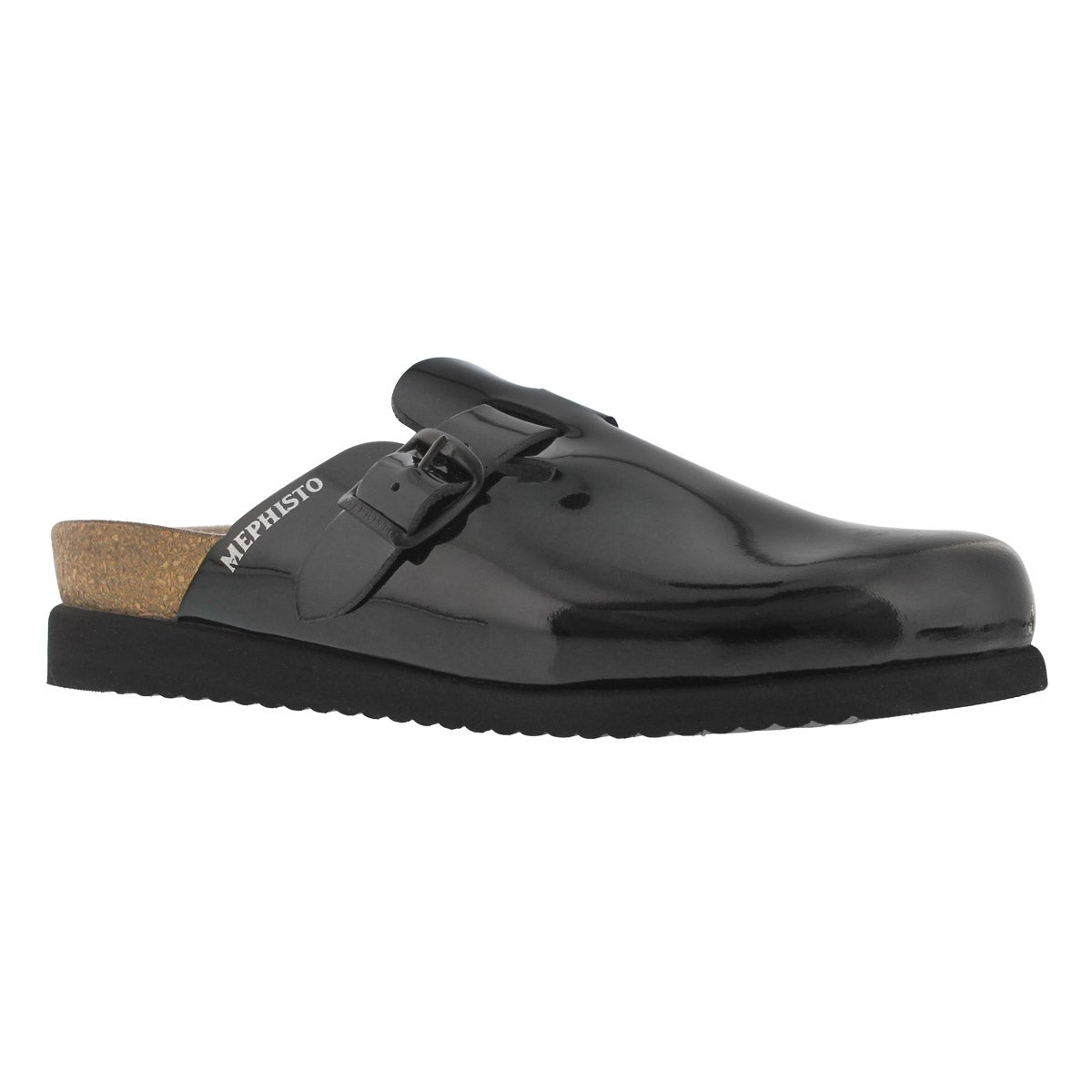 Women's HALINA black patent cork footbed clogs