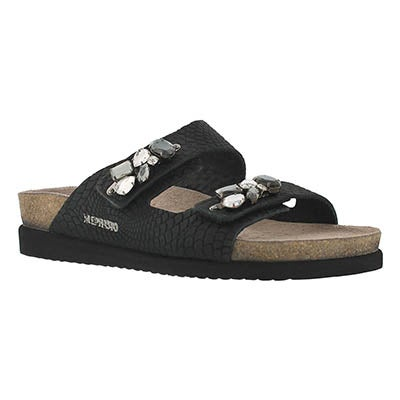 Mephisto Women's HANA black rio cork footbed sandals