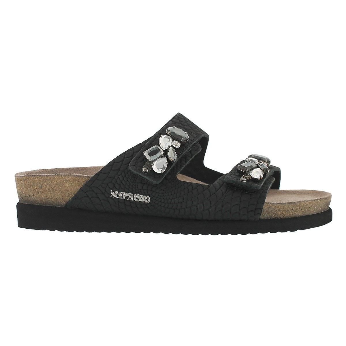Lds Hana blk rio cork footbed sandal