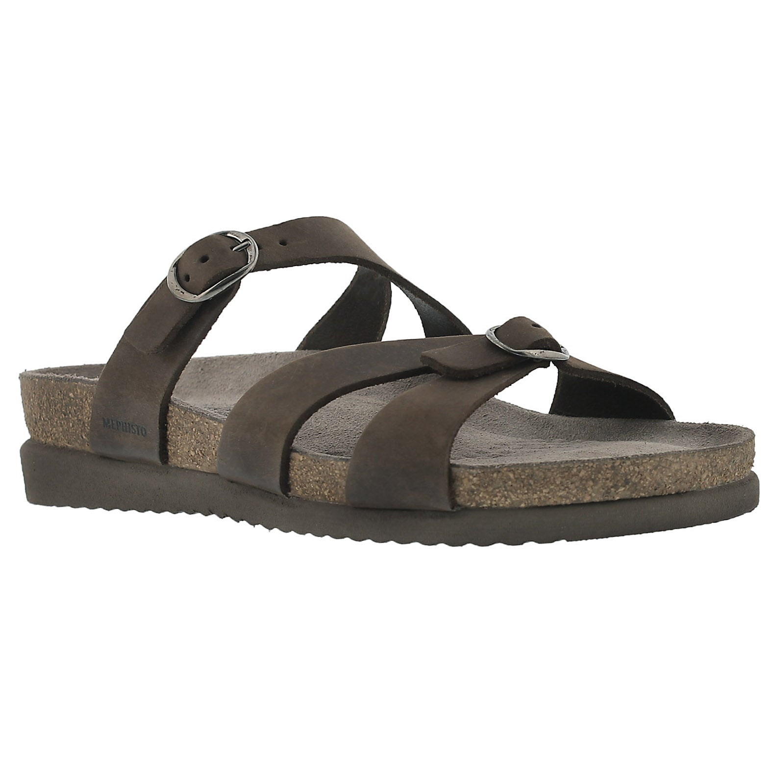 Women's HANNEL dark brown cork footbed slide