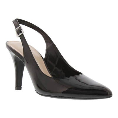 Franco Sarto Women's HARLA black leather sling back pumps