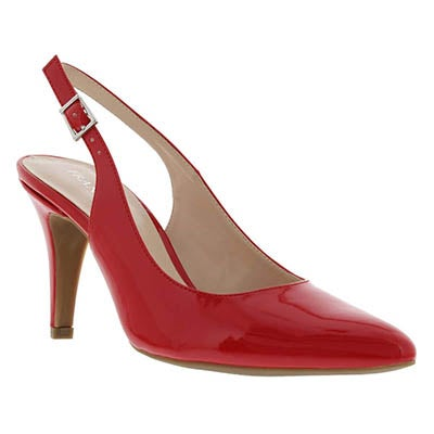 Franco Sarto Women's HARLA red patent sling back pumps
