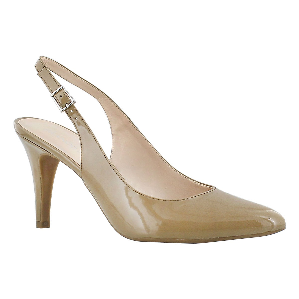 Women's HARLA natural patent sling back pumps
