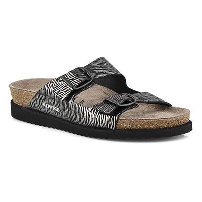 Lds Harmony zebra black footbed slide