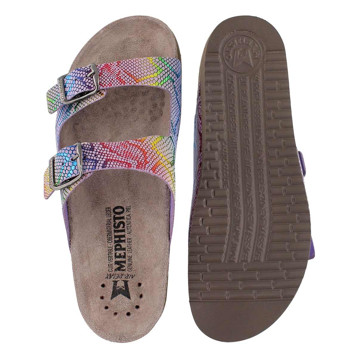 Lds Harmony mlti prnt cork footbed slide