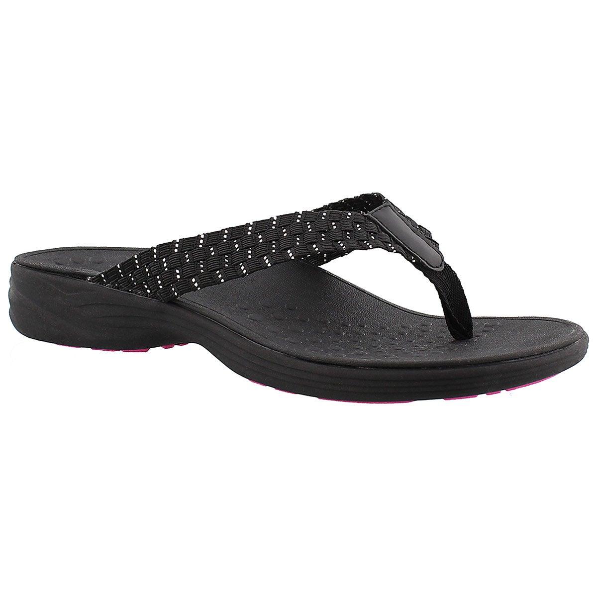 Women's HAZEL black arch support thong sandals