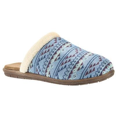 Lds Hazel sky blue open back slipper