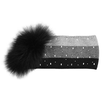 Lds rhinestone w/fur charcoal headband
