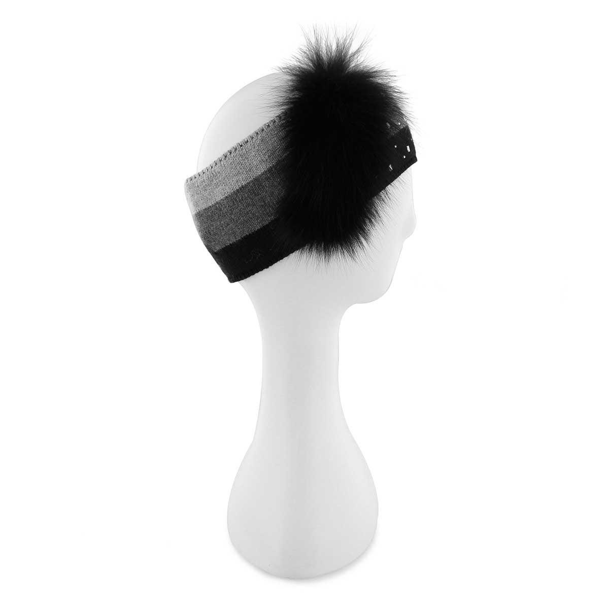 Lds rhinestone w/fur charcoal headband