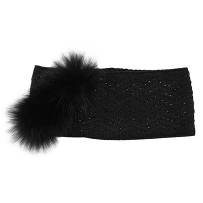 Lds sparkling wave w/ fur blk headband