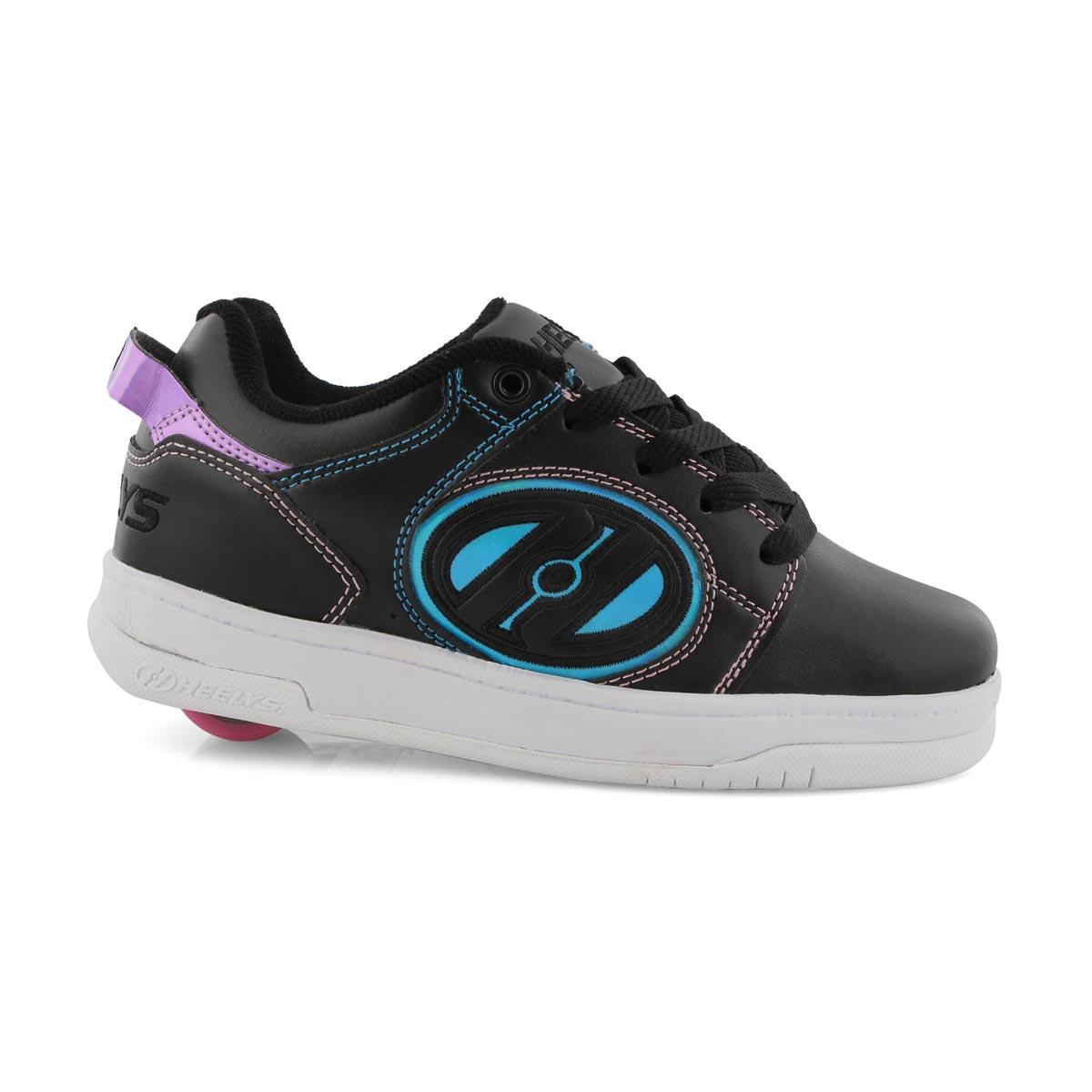 Grls Voyager bk/pk laceup skate sneaker