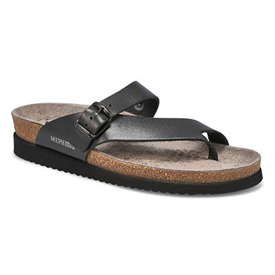Lds Helen blk waxy cork footbed thong