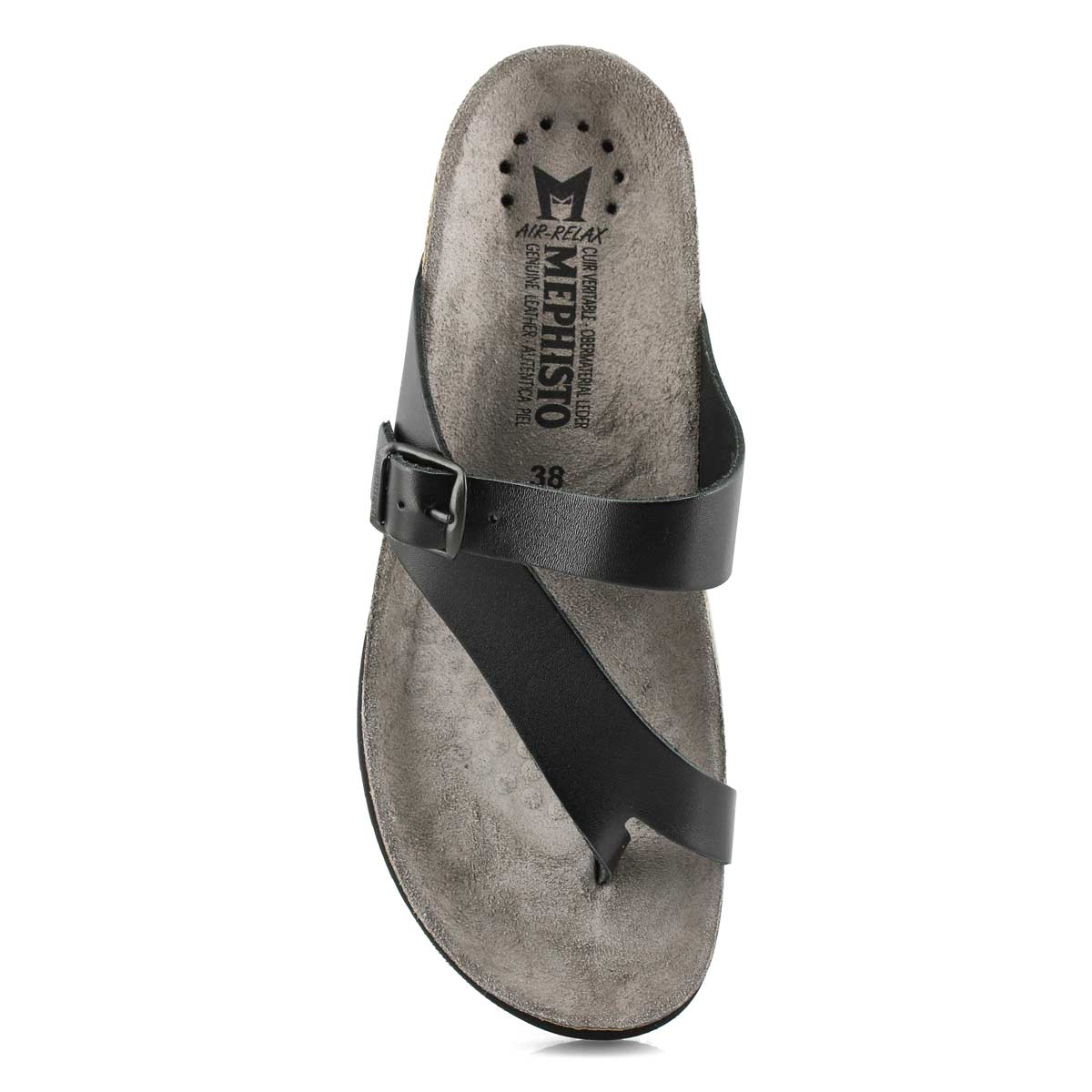 Lds Helen blk waxy cork footbed toe loop