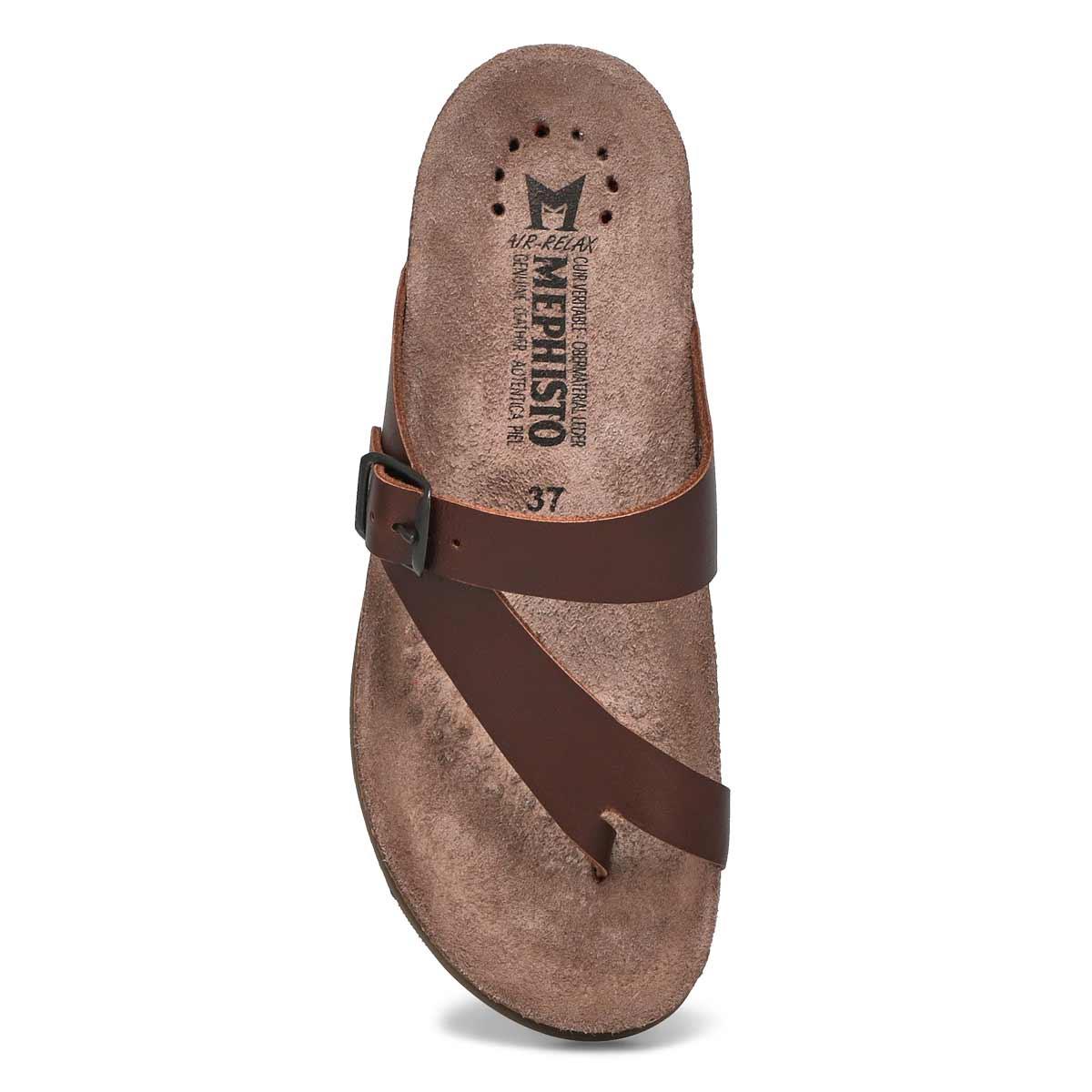 Lds Helen dk brn waxy cork footbed thong