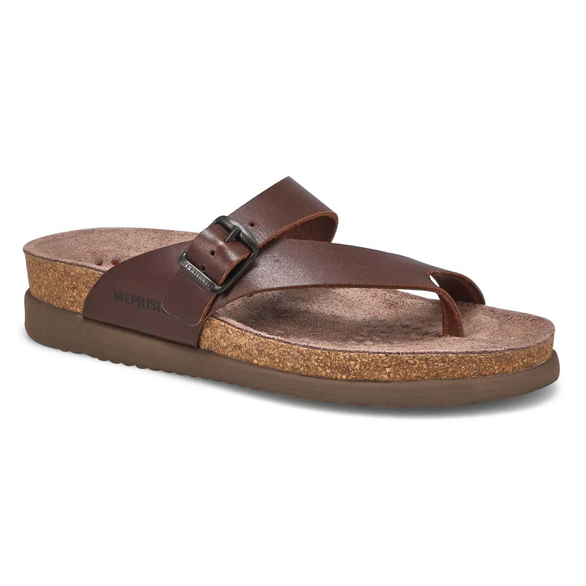 Women's HELEN dark brown waxy thong sandals