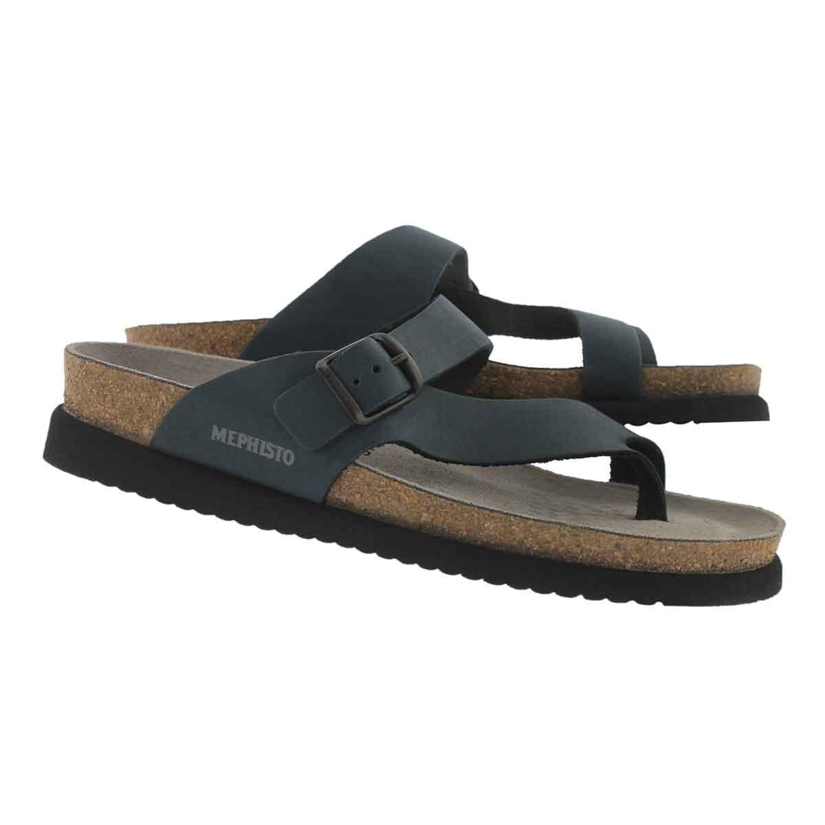 Lds Helen navy cork footbed thong