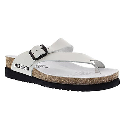 Mephisto Women's HELEN soft white cork thong sandals