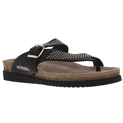 Mephisto Women's HELEN SPARKLING black thong sandals