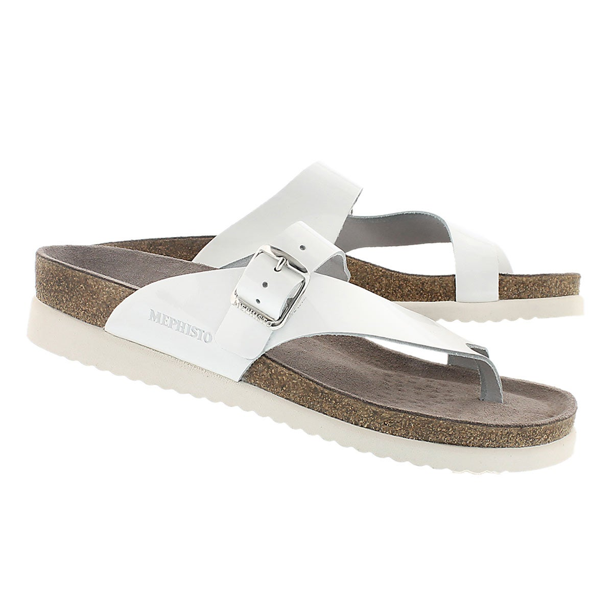 Lds Helen white patent thong sandal