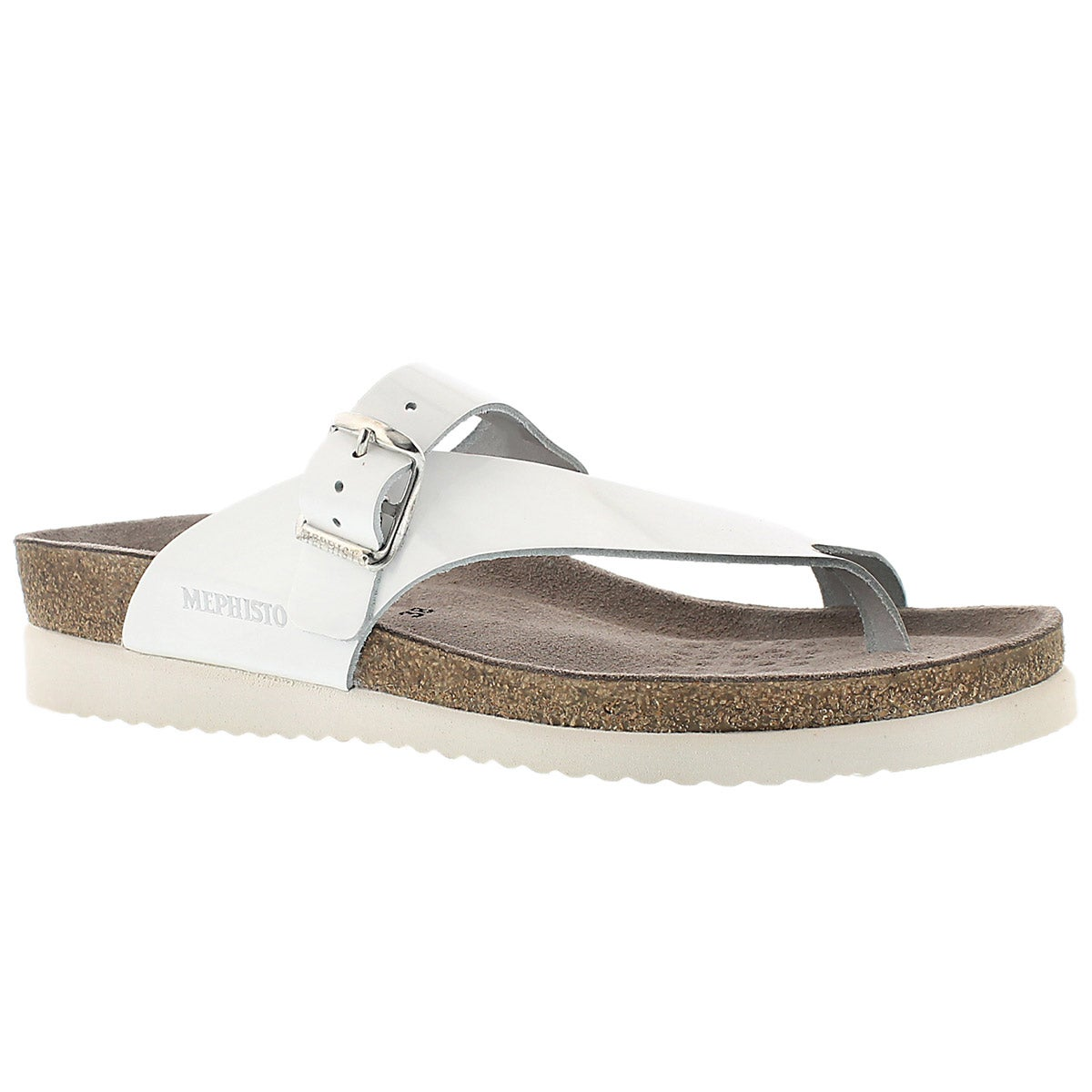 Women's HELEN white patent thong sandals