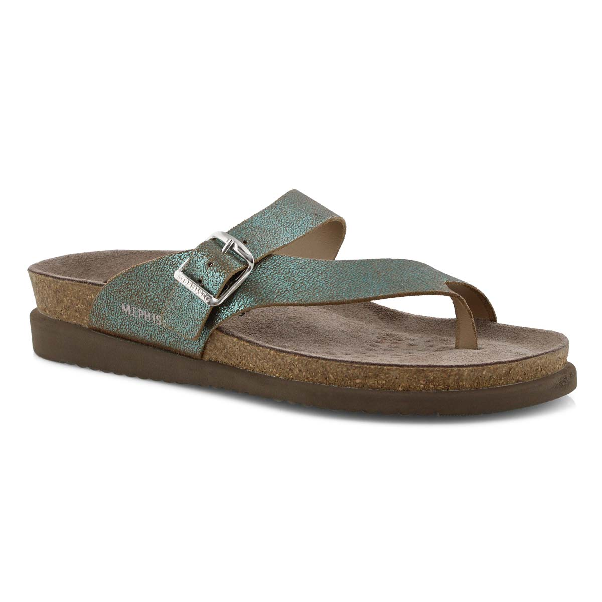 Lds Helen grn reptile cork footbed thong