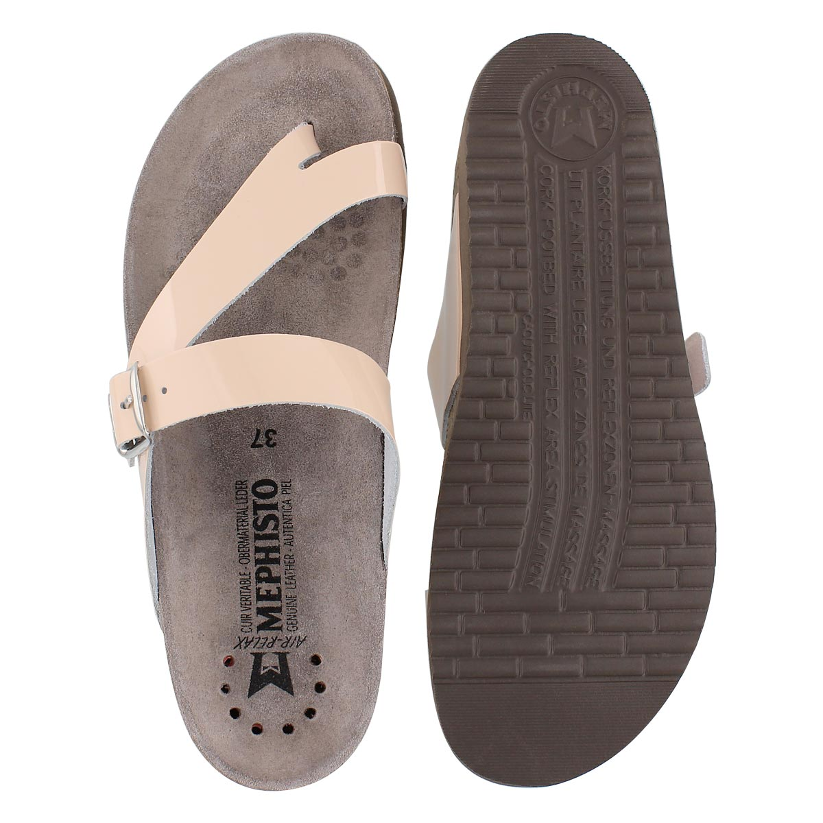 Lds Helen nude patent cork footbed thong