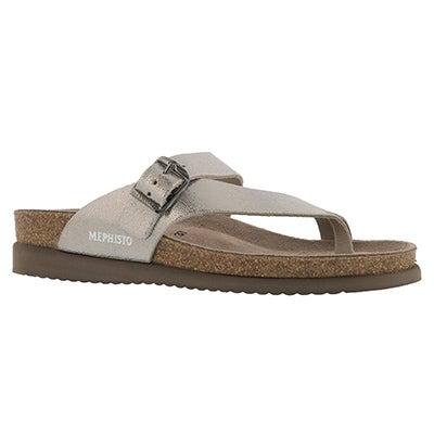 Lds Helen silver cork footbed toe loop