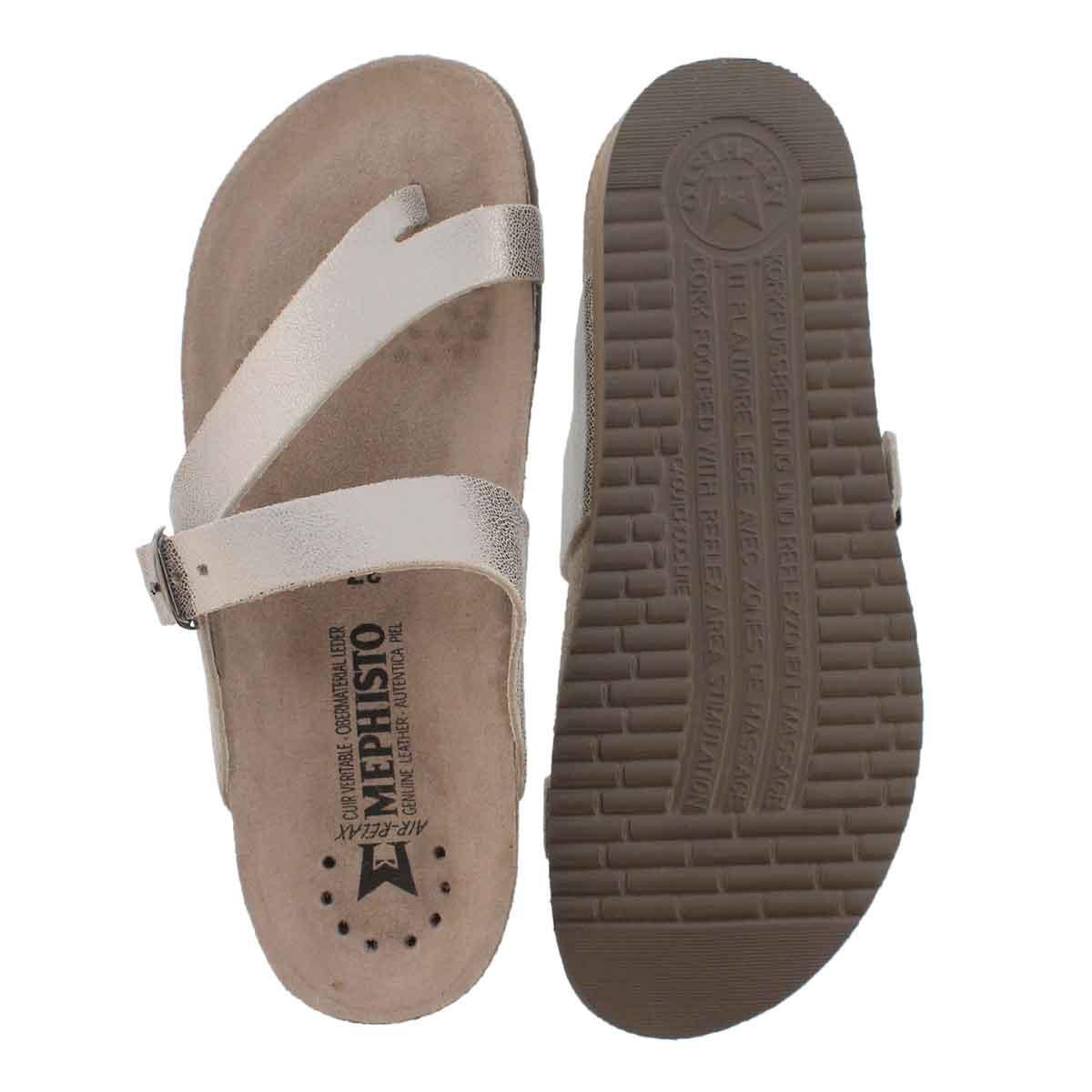 Lds Helen silver cork footbed thong