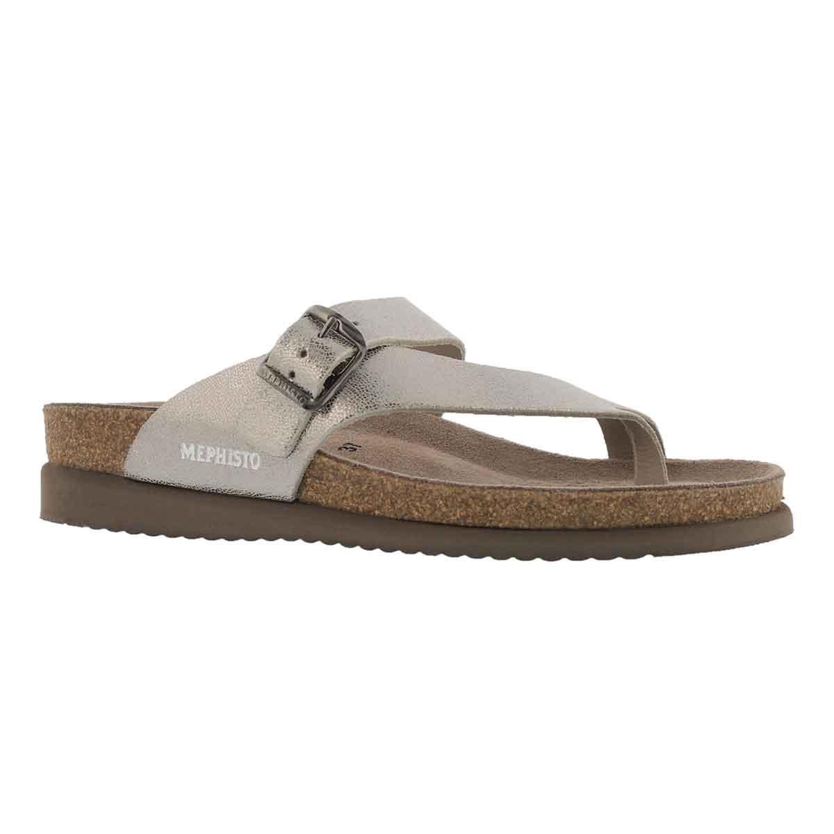 Women's HELEN silver cork footbed thong