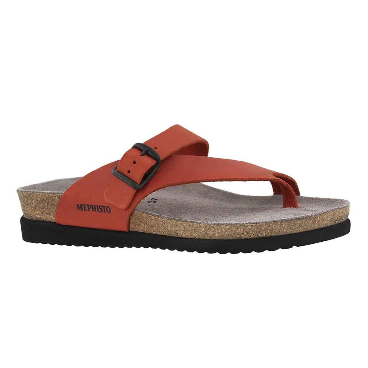 Women's HELEN red scratch cork footbed thongs