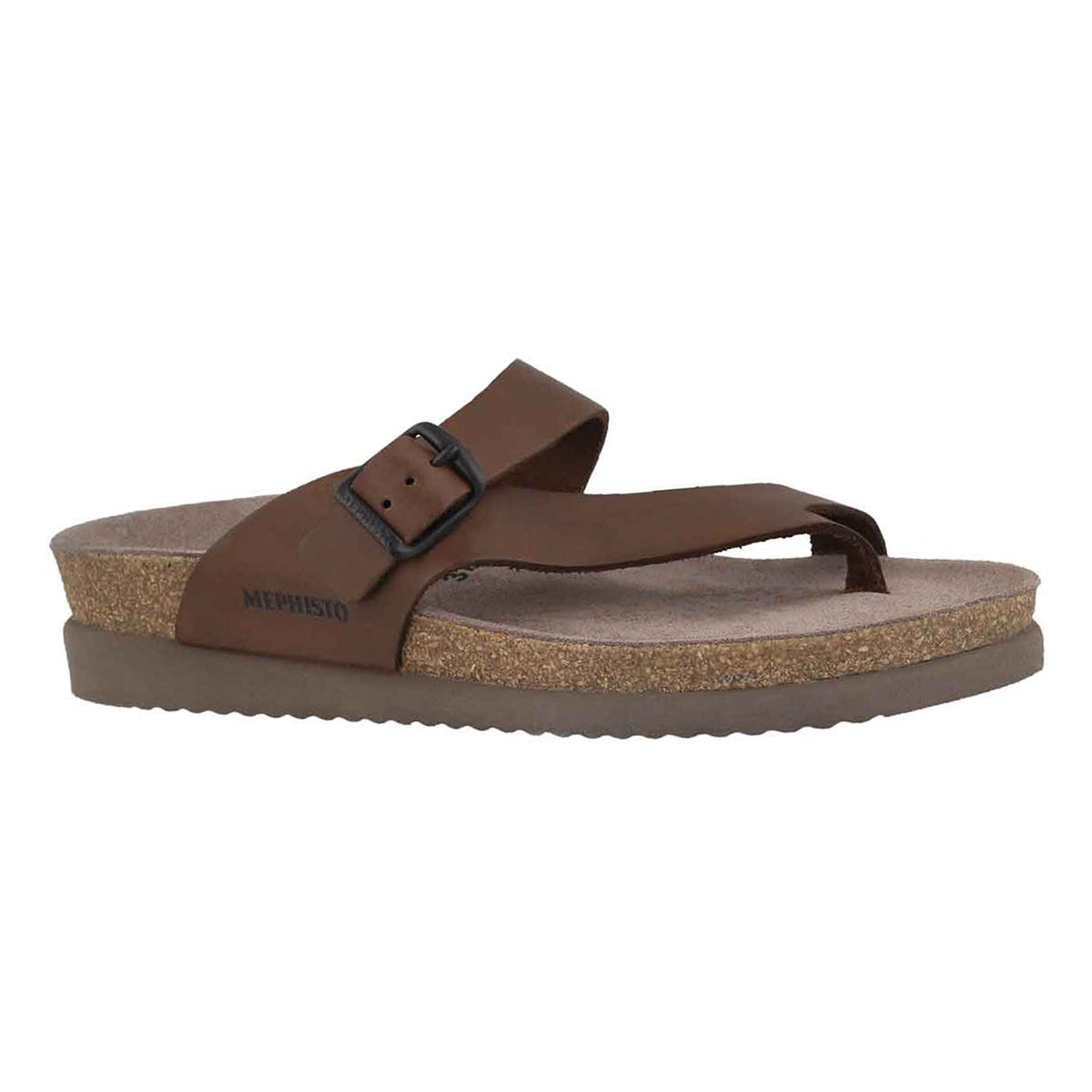 Women's HELEN dark brown scratch cork thongs