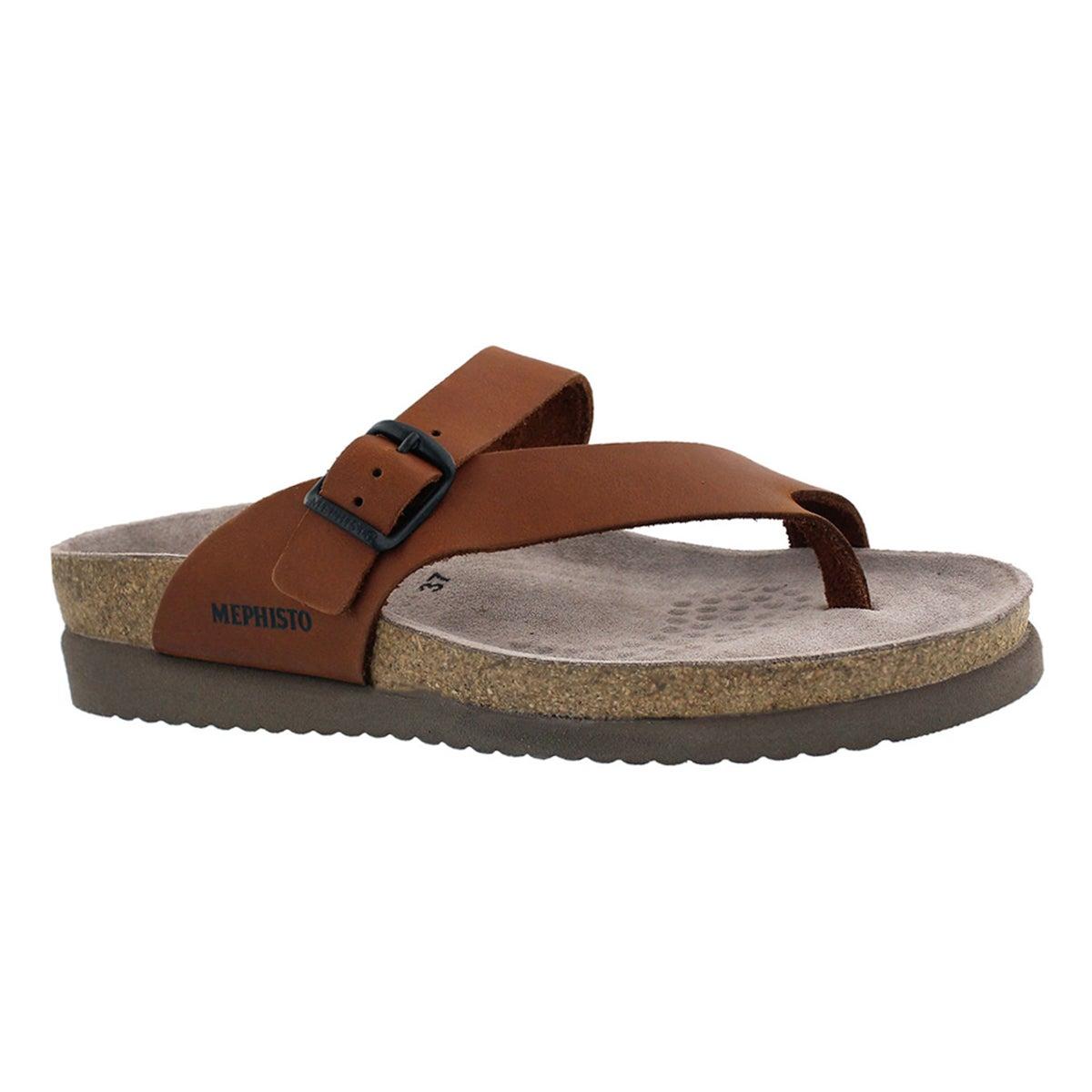 Women's HELEN brown cork footbed thongs