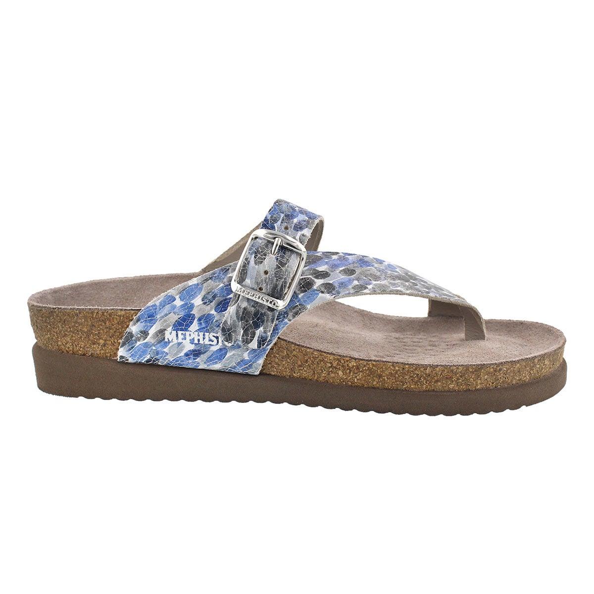 Lds Helen blu multi cork footbed thong