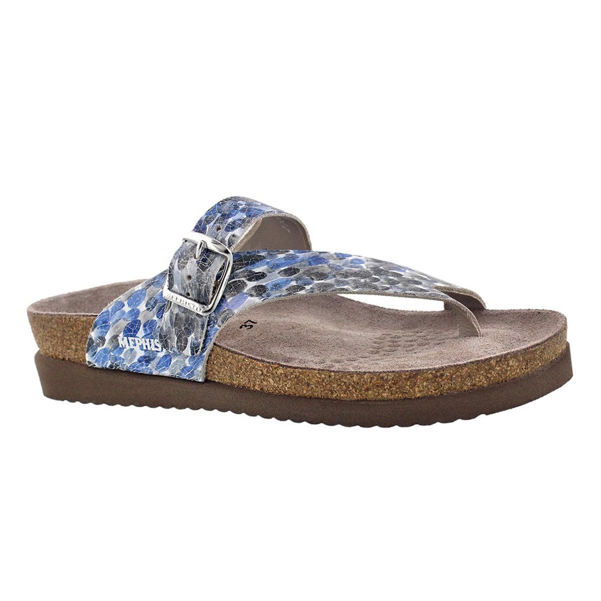 Women's HELEN blue multi cork footbed thongs
