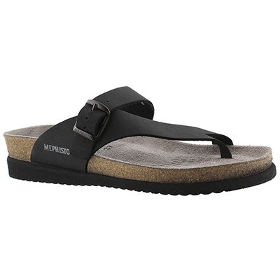 Mephisto Women's HELEN black nubuck cork footbed thongs