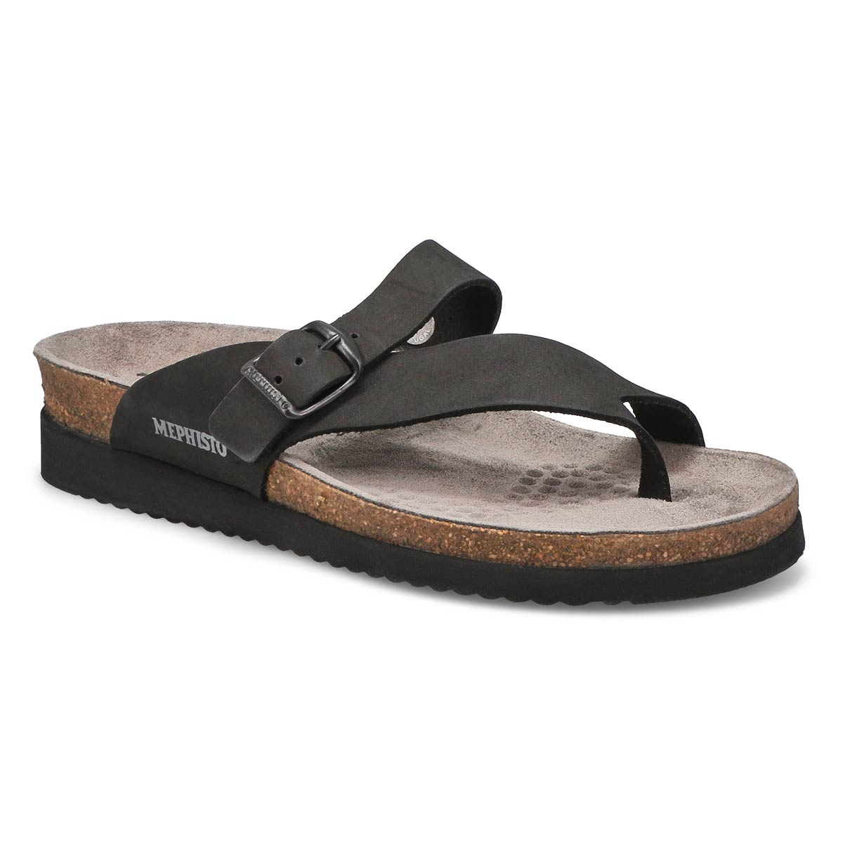 Women's HELEN black nubuck cork footbed thongs