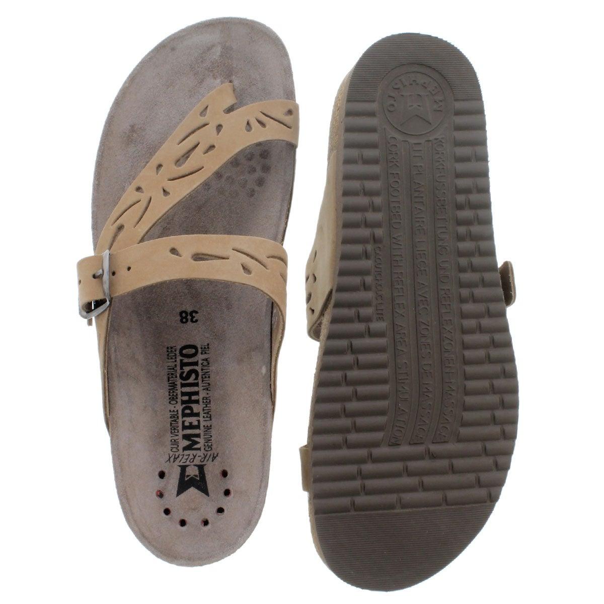 Lds Helen Perf lt bge cork footbed thong