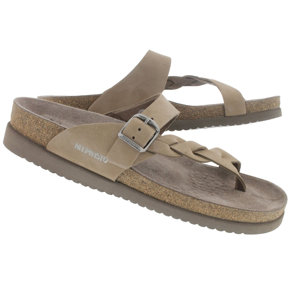 Lds Helen Twist lt bge crk footbed thong