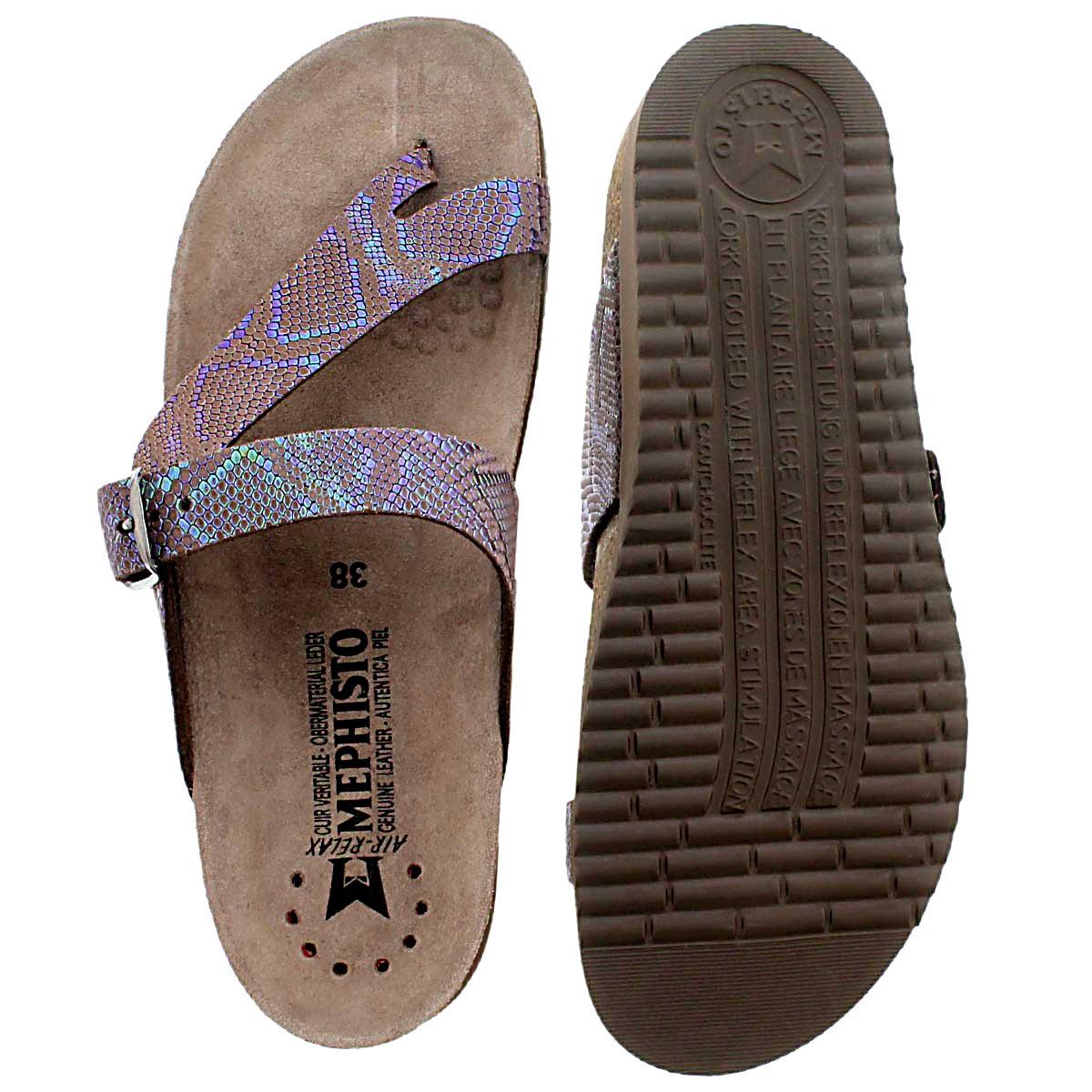 Lds Helen dk brown cork footbed thong
