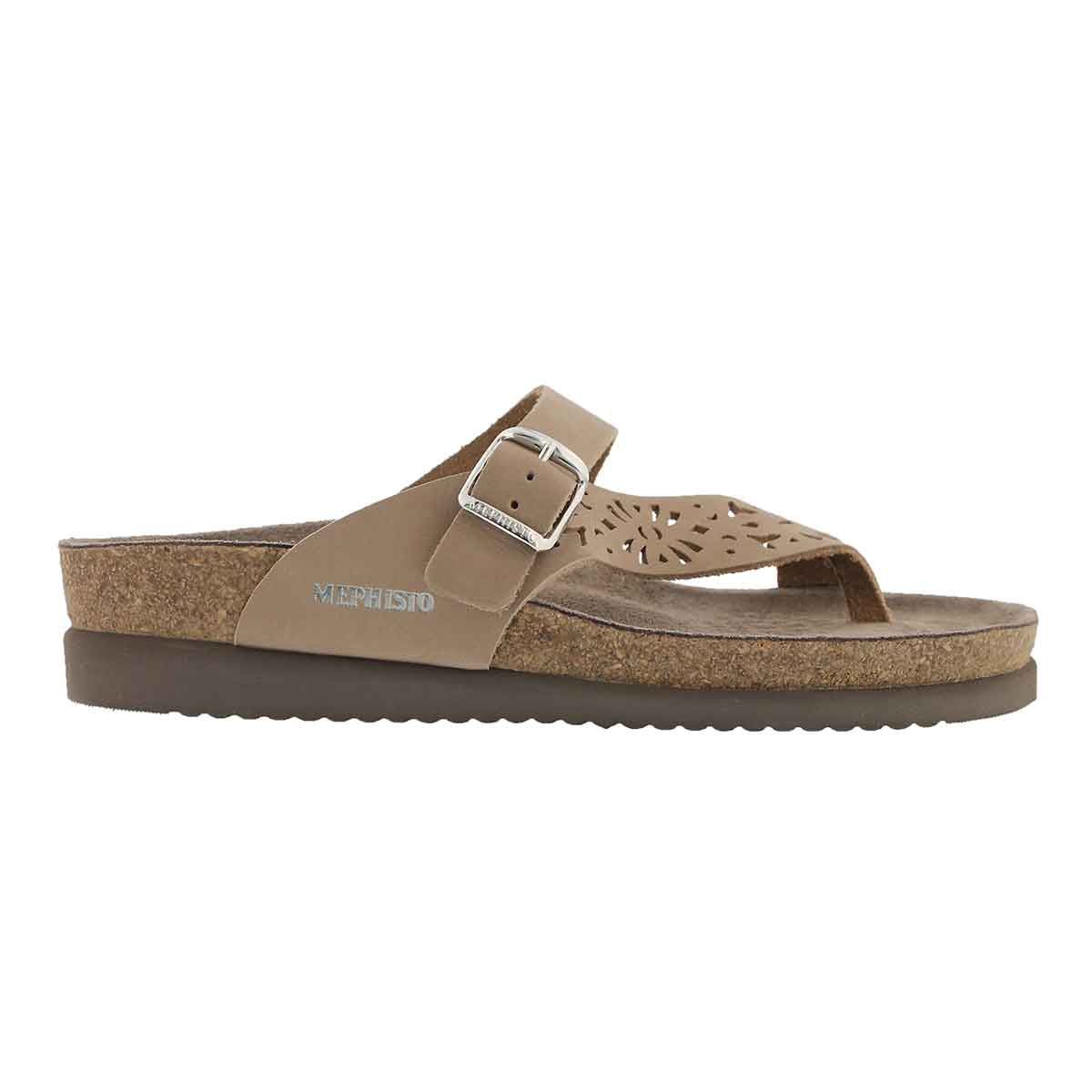 Lds Helen Perf taupe cork footbed thong