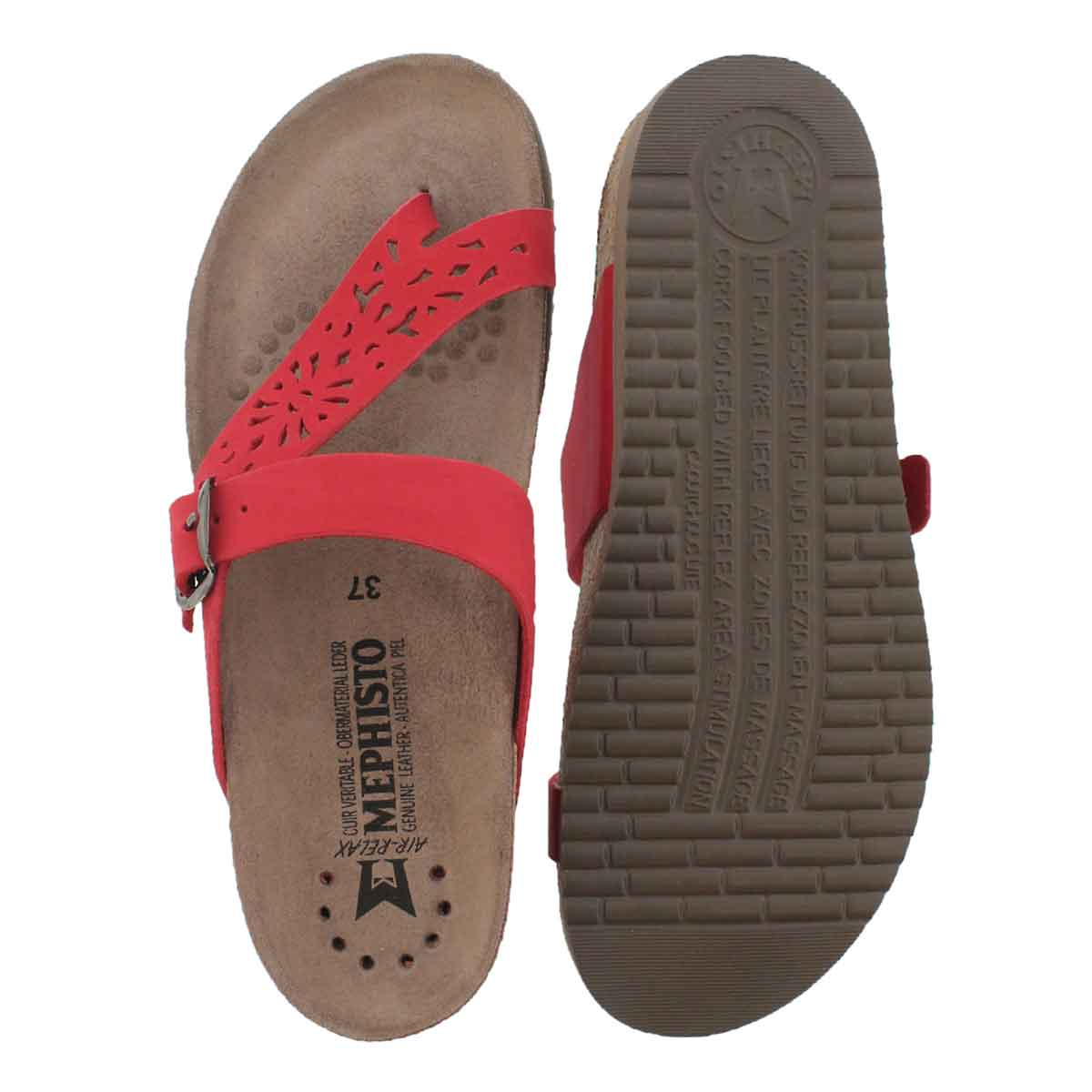 Lds Helen Perf red cork footbed thong