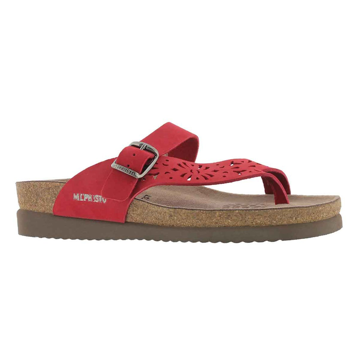 Women's HELEN PERFORATED red cork footbed thongs