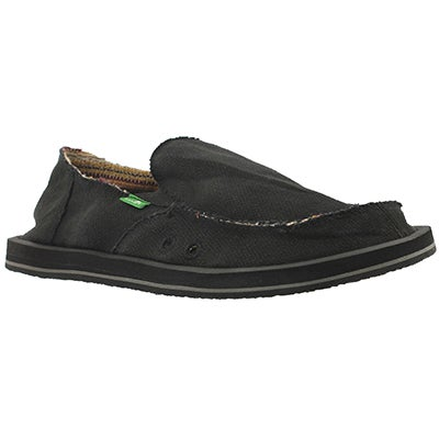 Sanuk Men's HEMP black slip on shoes