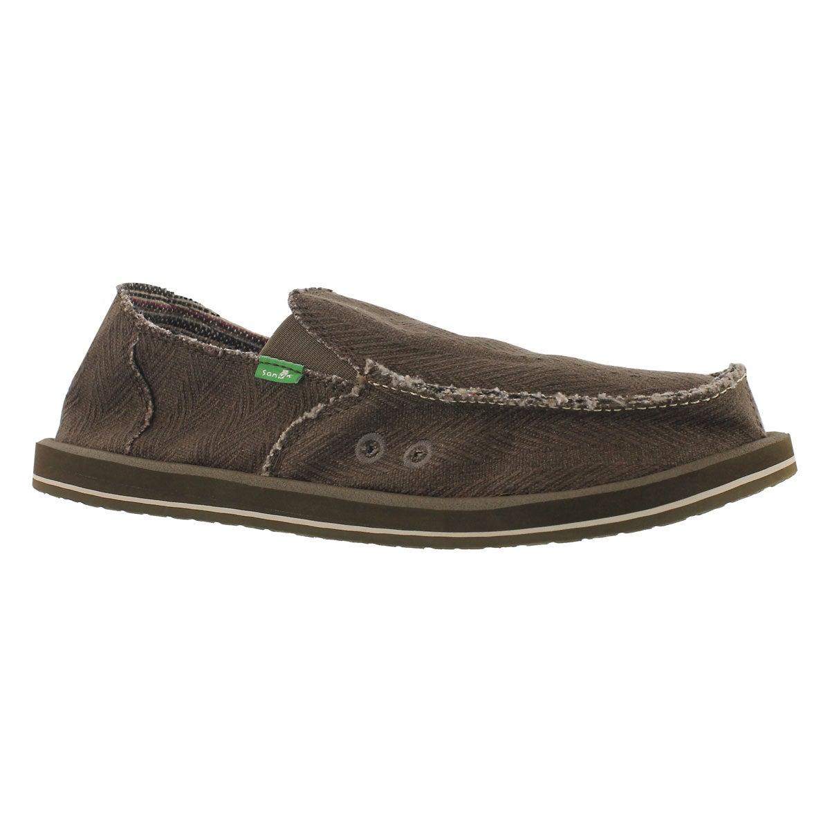 Men's HEMP olive slip on shoes
