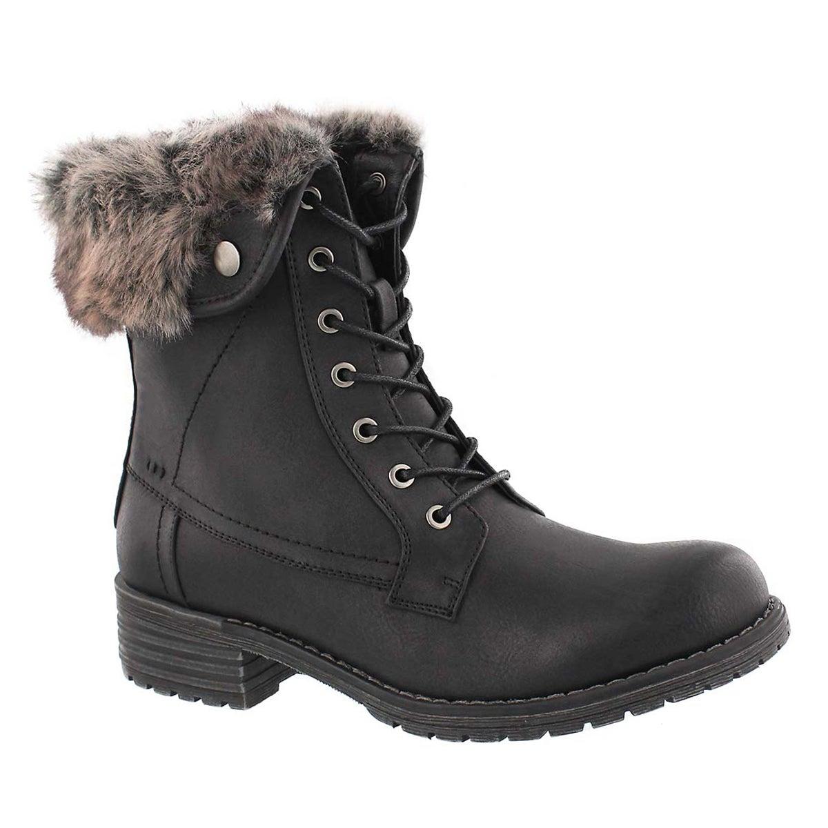 Women's HERMIONE black fur top lace up boots